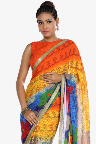 Designer Saree:atisundar delightful Designer Party Wear Saree in Orange And Blue  - 13263