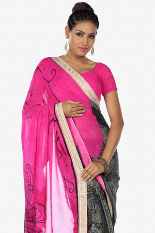 Designer Saree:atisundar fascinating Designer Party Wear Saree in Pink And Grey  - 13264