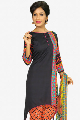 Designer Straight Cut:atisundar cute Black Designer Party Wear Straight Cut - 13281