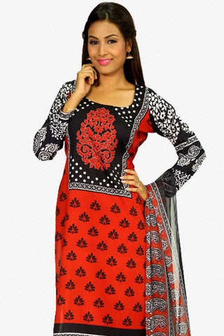 Designer Straight Cut:atisundar Charismatic Red And Black Designer Party Wear Straight Cut - 13282
