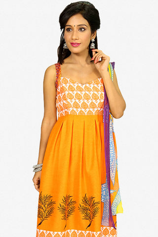 Designer Straight Cut:atisundar Attractive Orange Designer Party Wear Straight Cut - 13283