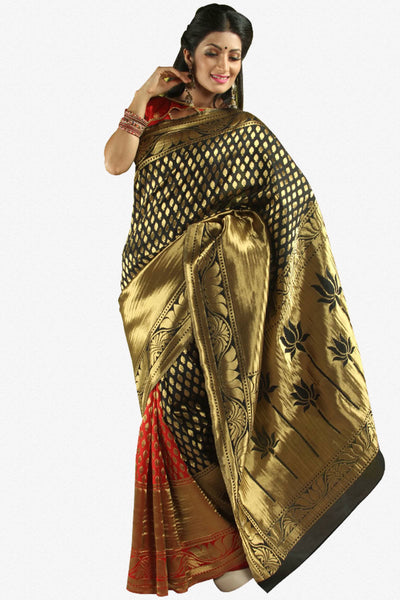 Designer Party Wear Saree:atisundar Superb Designer Party Wear Saree in Black And Red  - 14260 - click to zoom