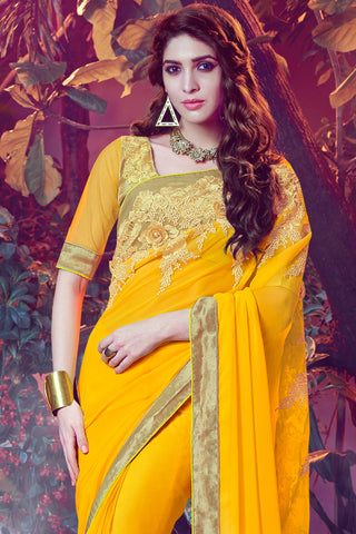 Designer Sarees:atisundar magnificent Designer Party Wear Saree with Border in Yellow  - 12060 - atisundar - 4