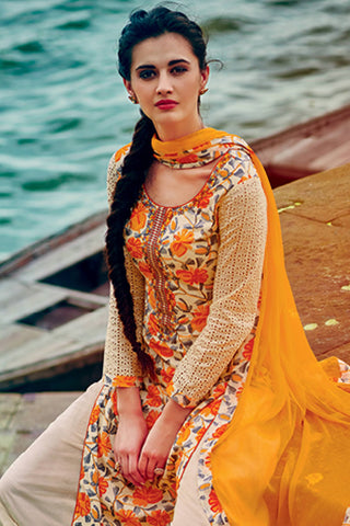 Designer Straight Cut:atisundar elegant Cream And Yellow Designer Printed Party Wear Straight Cut with Embroidered Neck - 12774