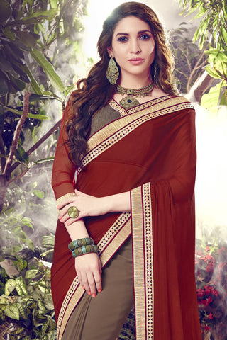 Designer Sarees:atisundar enticing Designer Party Wear Saree with Border in Maroon And Light Brown  - 12070 - atisundar - 4