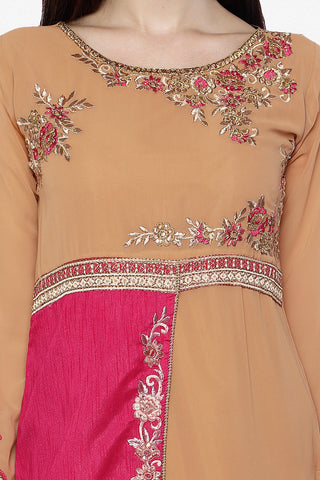Designer Straight Cut:atisundar gorgeous Brown And Pink Designer Embroidered Straight Cut Featuring Karishma Kapoor - 12724