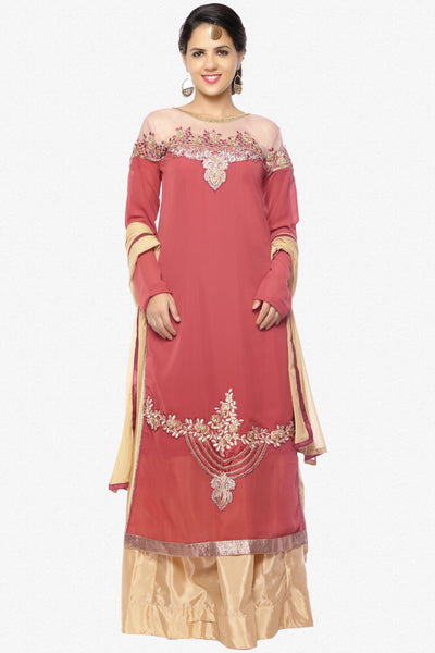 Designer Lehenga:atisundar resplendent Embroidered Faux Georgette Designer Party Wear Embroidered Lehenga Featuring Karishma Kapoor in Pink - 12731 - click to zoom