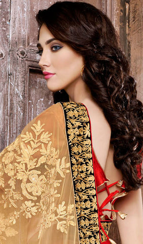 Designer Embroidered Saree:atisundar ravishing Designer Embroidered Party Wear Sarees in Beige  - 8904 - atisundar - 4