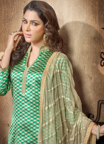 Designer Embroidered Straight Cut Suit:atisundar cute Green Designer Straight Cut Embroidered Suits - 8964 - atisundar - 3