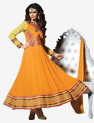 Embroidered PartyWear Anarkali:atisundar graceful Orange Designer Embroidered Anarkali - 7060 - atisundar - 2 - click to zoom