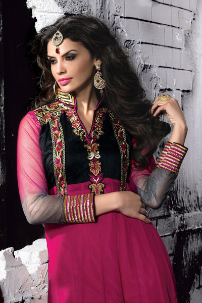 Embroidered PartyWear Anarkali:atisundar Charismatic Gray And Pink Designer Embroidered Anarkali - 7061 - atisundar - 4 - click to zoom
