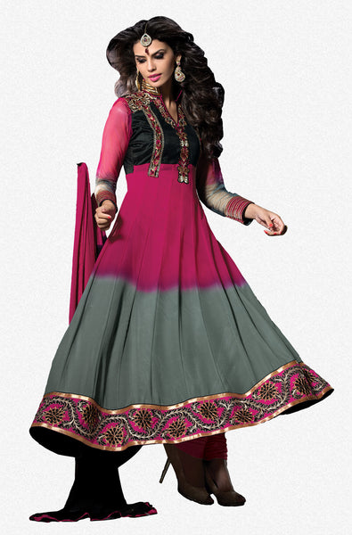 Embroidered PartyWear Anarkali:atisundar Charismatic Gray And Pink Designer Embroidered Anarkali - 7061 - click to zoom