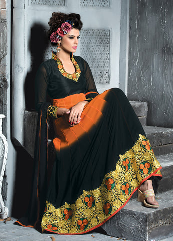 Embroidered PartyWear Anarkali:atisundar stunning Orange And Black Designer Embroidered Anarkali - 7063 - atisundar - 4