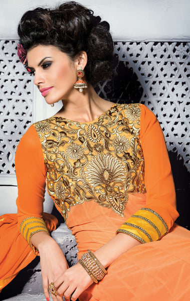 Embroidered PartyWear Anarkali:atisundar wonderful Orange Designer Embroidered Anarkali - 7066 - atisundar - 4 - click to zoom