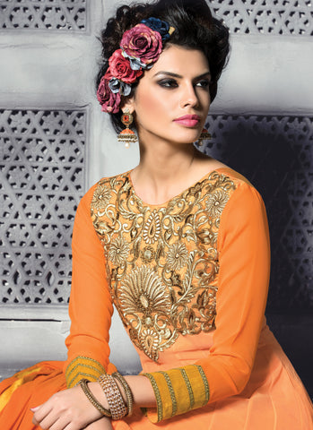 Embroidered PartyWear Anarkali:atisundar wonderful Orange Designer Embroidered Anarkali - 7066 - atisundar - 5
