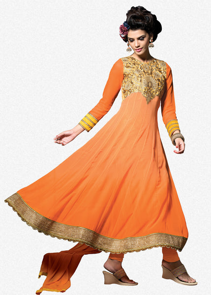 Embroidered PartyWear Anarkali:atisundar wonderful Orange Designer Embroidered Anarkali - 7066 - atisundar - 2 - click to zoom