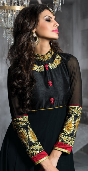Embroidered PartyWear Anarkali:atisundar pretty Black And Musturd Designer Embroidered Anarkali - 7067 - atisundar - 5 - click to zoom
