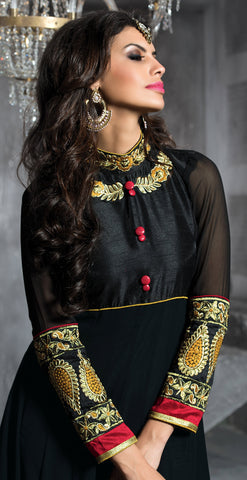 Embroidered PartyWear Anarkali:atisundar pretty Black And Musturd Designer Embroidered Anarkali - 7067 - atisundar - 5