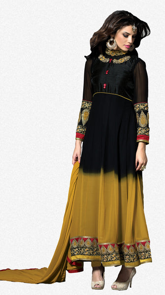 Embroidered PartyWear Anarkali:atisundar pretty Black And Musturd Designer Embroidered Anarkali - 7067 - atisundar - 2 - click to zoom
