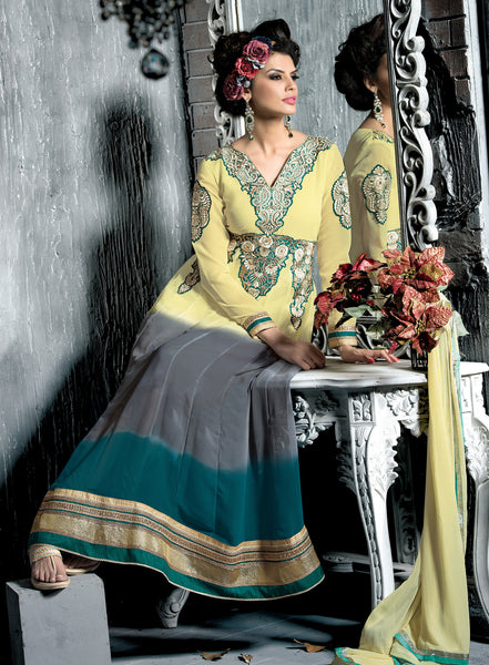 Embroidered PartyWear Anarkali:atisundar Charismatic Cream And Gray Designer Embroidered Anarkali - 7068 - atisundar - 4 - click to zoom