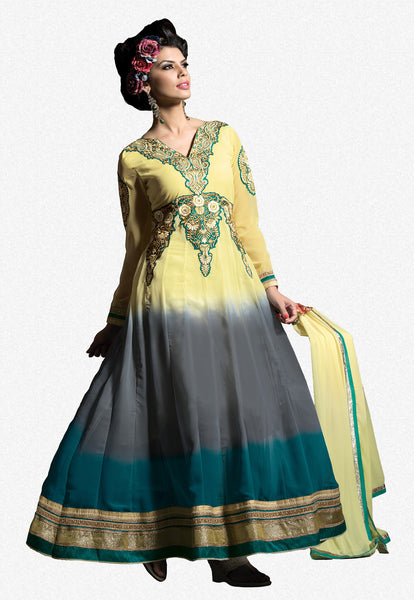 Embroidered PartyWear Anarkali:atisundar Charismatic Cream And Gray Designer Embroidered Anarkali - 7068 - atisundar - 2 - click to zoom