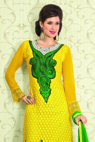 Designer Straight Cut:atisundar marvelous Yellow Designer Straight Cut  - 11856 - atisundar - 4