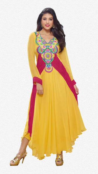 Designer Gowns!:atisundar ravishing Faux Georgette Designer Partywear Gowns in Yellow - 6839 - click to zoom