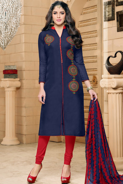 Designer Straight Cut:atisundar Beautiful Dark Blue  Designer Party Wear Straight Cut in Faux Chanderi - 12355 - atisundar - 3 - click to zoom