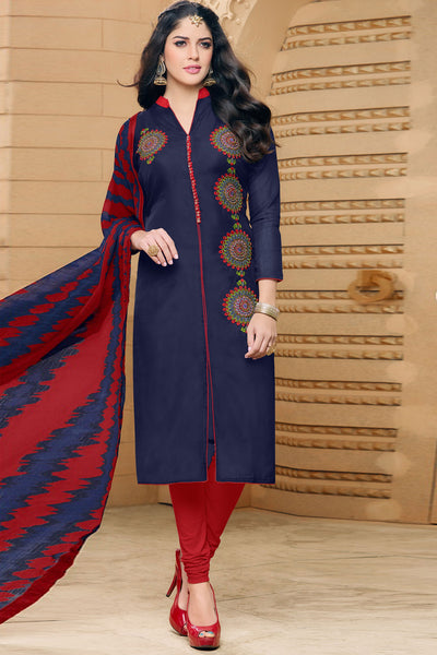 Designer Straight Cut:atisundar Beautiful Dark Blue  Designer Party Wear Straight Cut in Faux Chanderi - 12355 - atisundar - 4 - click to zoom