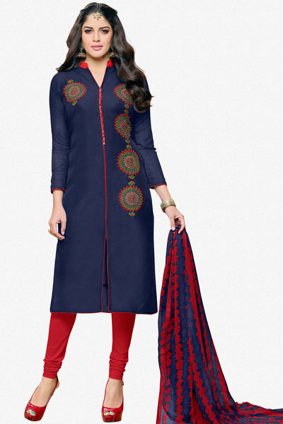 Designer Straight Cut:atisundar Beautiful Dark Blue  Designer Party Wear Straight Cut in Faux Chanderi - 12355 - atisundar - 1 - click to zoom