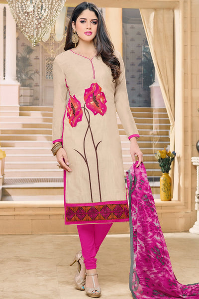 Designer Straight Cut:atisundar radiant Cream Designer Party Wear Straight Cut in Faux Chanderi - 12358 - atisundar - 3 - click to zoom