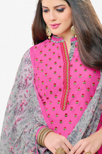 Designer Straight Cut:atisundar charming Pink Designer Party Wear Straight Cut in Faux Chanderi - 12360 - atisundar - 3 - click to zoom