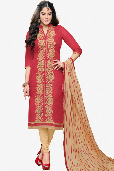 Designer Straight Cut:atisundar pretty Red Designer Party Wear Straight Cut in Faux Chanderi - 12361 - atisundar - 2 - click to zoom