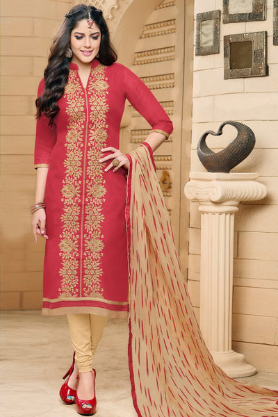 Designer Straight Cut:atisundar pretty Red Designer Party Wear Straight Cut in Faux Chanderi - 12361 - atisundar - 4 - click to zoom
