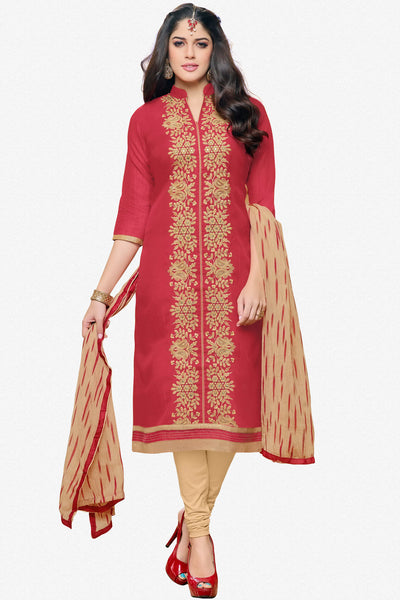 Designer Straight Cut:atisundar pretty Red Designer Party Wear Straight Cut in Faux Chanderi - 12361 - atisundar - 1 - click to zoom