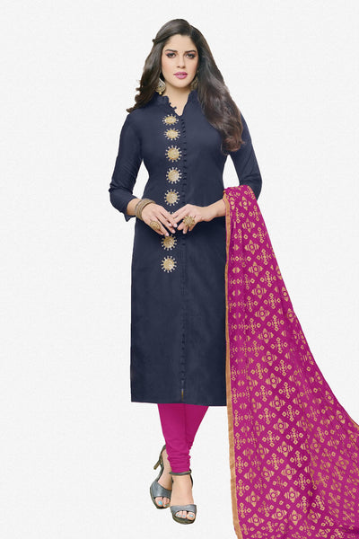 Designer Straight Cut:atisundar enticing Dark Blue  Designer Party Wear Straight Cut in Faux Chanderi - 12363 - atisundar - 3 - click to zoom