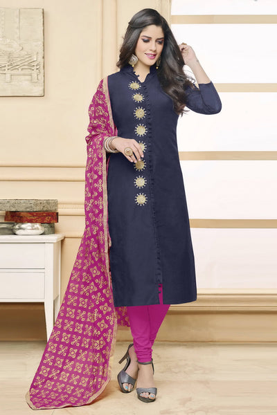 Designer Straight Cut:atisundar enticing Dark Blue  Designer Party Wear Straight Cut in Faux Chanderi - 12363 - atisundar - 4 - click to zoom