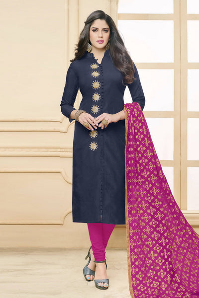 Designer Straight Cut:atisundar enticing Dark Blue  Designer Party Wear Straight Cut in Faux Chanderi - 12363 - atisundar - 6 - click to zoom