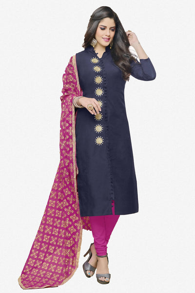Designer Straight Cut:atisundar enticing Dark Blue  Designer Party Wear Straight Cut in Faux Chanderi - 12363 - atisundar - 1 - click to zoom