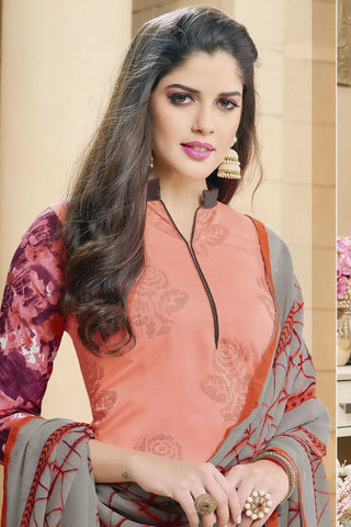 Designer Straight Cut:atisundar Superb Peach Designer Party Wear Straight Cut in Faux Chanderi - 12365 - atisundar - 6