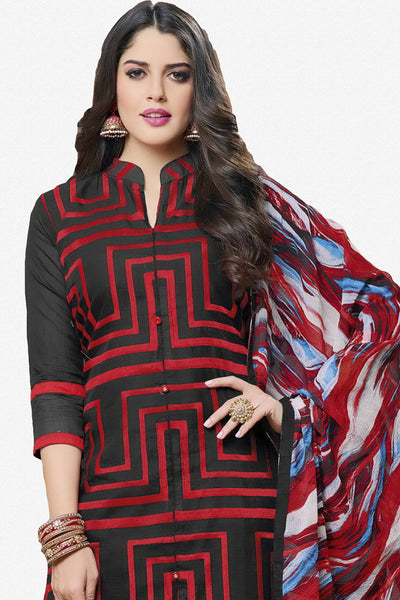Designer Straight Cut:atisundar Attractive Black And Red Designer Party Wear Straight Cut in Faux Chanderi - 12366 - atisundar - 2 - click to zoom