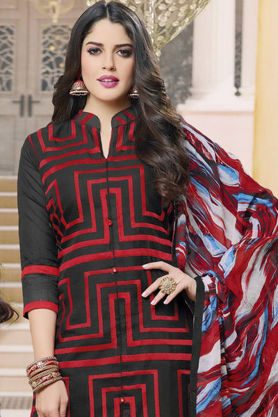 Designer Straight Cut:atisundar Attractive Black And Red Designer Party Wear Straight Cut in Faux Chanderi - 12366 - atisundar - 5 - click to zoom