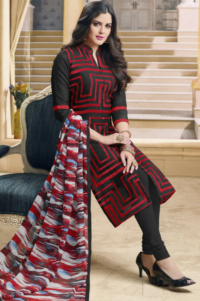 Designer Straight Cut:atisundar Attractive Black And Red Designer Party Wear Straight Cut in Faux Chanderi - 12366 - atisundar - 6 - click to zoom