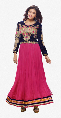 Designer Gowns!:atisundar Alluring Net And Velvet Designer Partywear Gowns in Pink - 6841 - atisundar - 2 - click to zoom