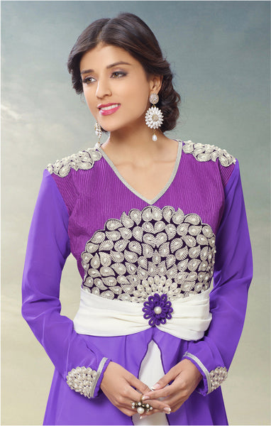 Designer Gowns!:atisundar gorgeous Faux Georgette Designer Partywear Gowns in Purple - 6842 - atisundar - 4 - click to zoom