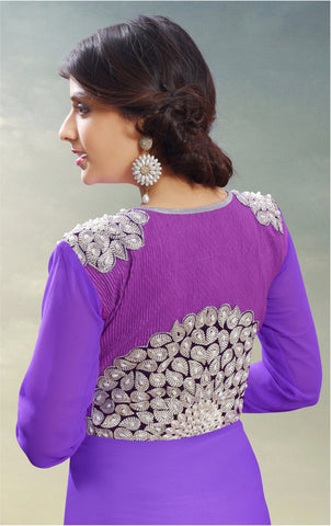 Designer Gowns!:atisundar gorgeous Faux Georgette Designer Partywear Gowns in Purple - 6842 - atisundar - 5