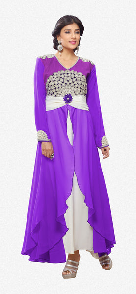 Designer Gowns!:atisundar gorgeous Faux Georgette Designer Partywear Gowns in Purple - 6842 - atisundar - 2 - click to zoom