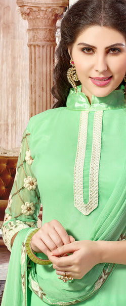 Designer Straight Cut:atisundar radiant Light Green Palazzo - 8385 - atisundar - 3 - click to zoom