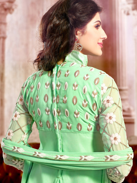 Designer Straight Cut:atisundar radiant Light Green Palazzo - 8385 - atisundar - 4 - click to zoom