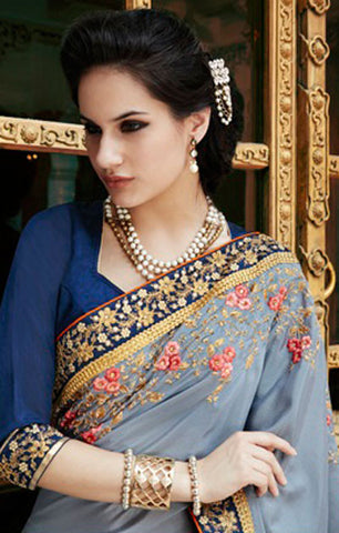Designer Embroidered Saree:atisundar Great Designer Embroidery Saree in Grey  - 8606 - atisundar - 2